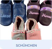 finest selection d2d06 320fb Lederpuschen mit Namen - Babygeschenke-Shop.de