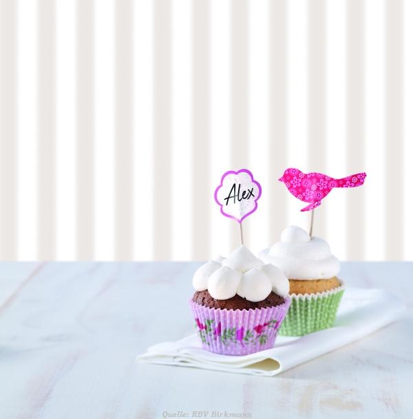 cupcake deko set vogel babygeschenke. Black Bedroom Furniture Sets. Home Design Ideas