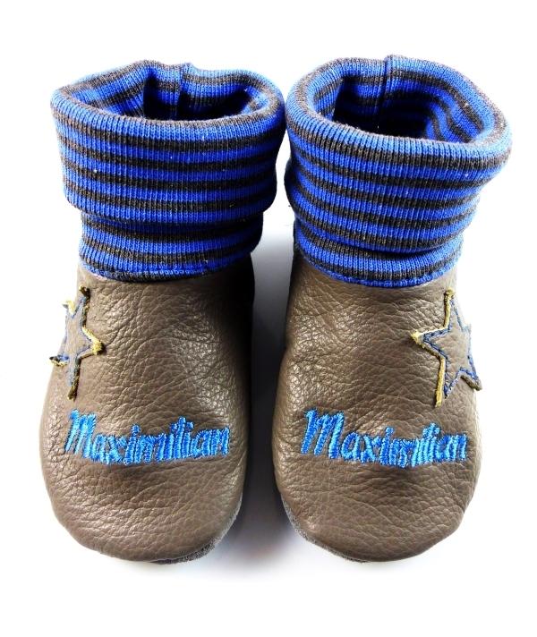 best loved bc1c6 742ef Krabbelschuhe Stern grau blau