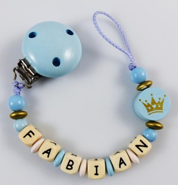 Schnullerkette mit Namen - Royal blau - Babygeschenke-Shop.de