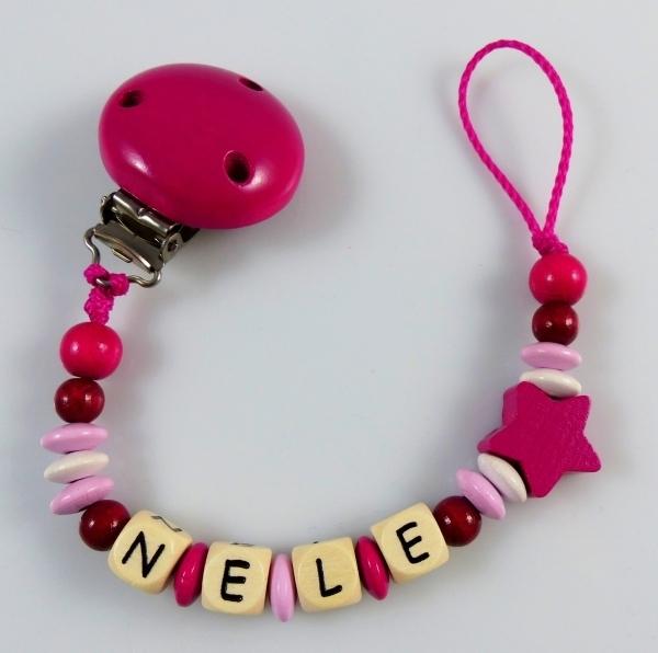 schnullerkette mit namen stern pink bordeaux babygeschenke. Black Bedroom Furniture Sets. Home Design Ideas