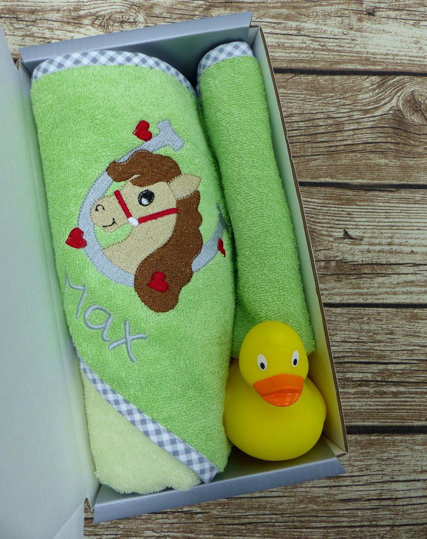 Geschenkset Baby mit Namen Pferd - Babygeschenke-Shop.de